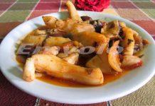 Σουπιές μαγειρευτές με ελίτσες - Cuttlefish cooked with small Olives
