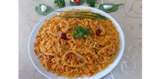 Καλαμαράκια με ρύζι και κουρκουμά